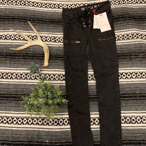 NWT Black Lace Up Moto Jeans
